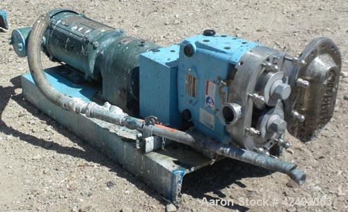 .Used- Waukesha Rotary Positive Displacement Pump, Model 030U2-AP, 316 Stainless Steel. Approximately 36 gallons per minute...
