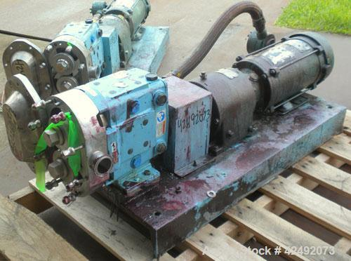 Used- Waukesha Rotary Positive Displacement Pump, Model 030U2, 316 Stainless Steel. Approximately 36 gallons per minute at 1...