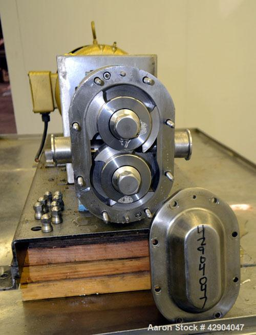 Used- Waukesha Universal 2 Rotary Positive Displacement Pump, Model 030U2, 316 Stainless Steel. Approximate capacity 36 gall...