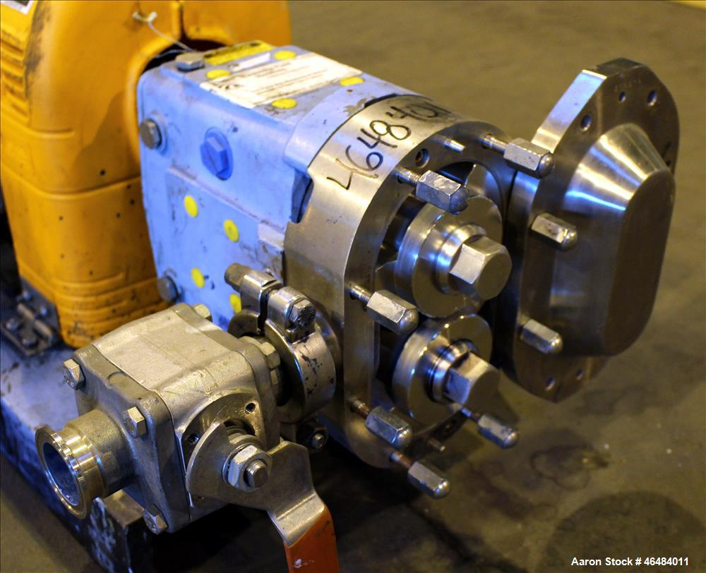 Used- Waukesha Rotary Positive Displacement Pump, Model 030U2, 316 Stainless Steel. Approximately 36 gallons per minute at 2...