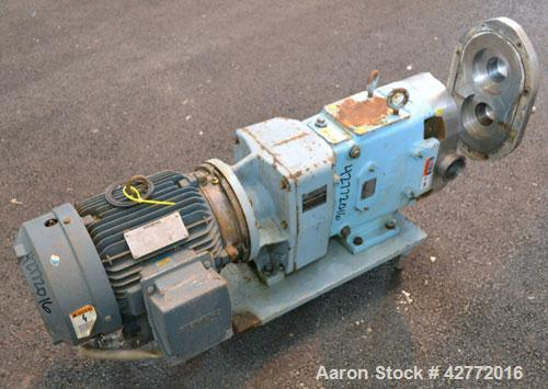 Used- Waukesha Rotary Positive Displacement Pump, Model 060, 316 Stainless Steel. Approximately 90 gallons per minute at 200...