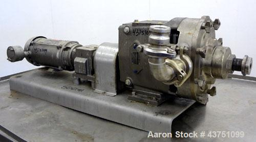 Used- Stainless Steel Waukesha Universal Rotary Positive Displacement Pump, Model 060
