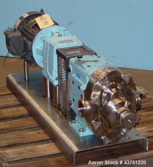 Used- Waukesha Universal Rotary Positive Displacement Pump, Model 060, 316 Stainless Steel. Approximately 90 gallons per min...