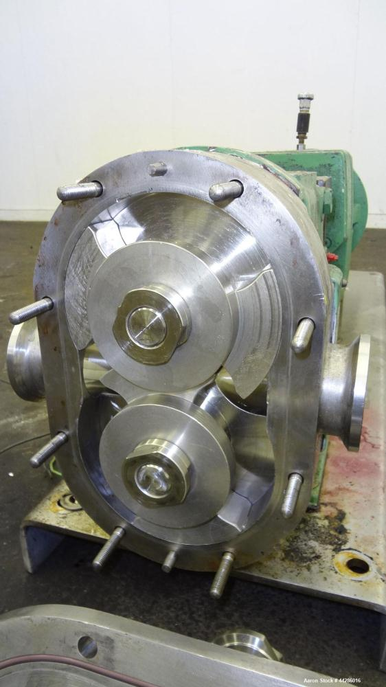 Used- Waukesha Rotary Positive Displacement Pump, Model 60, 316 Stainless Steel. Approximately 90 gallons per minute at 200 ...