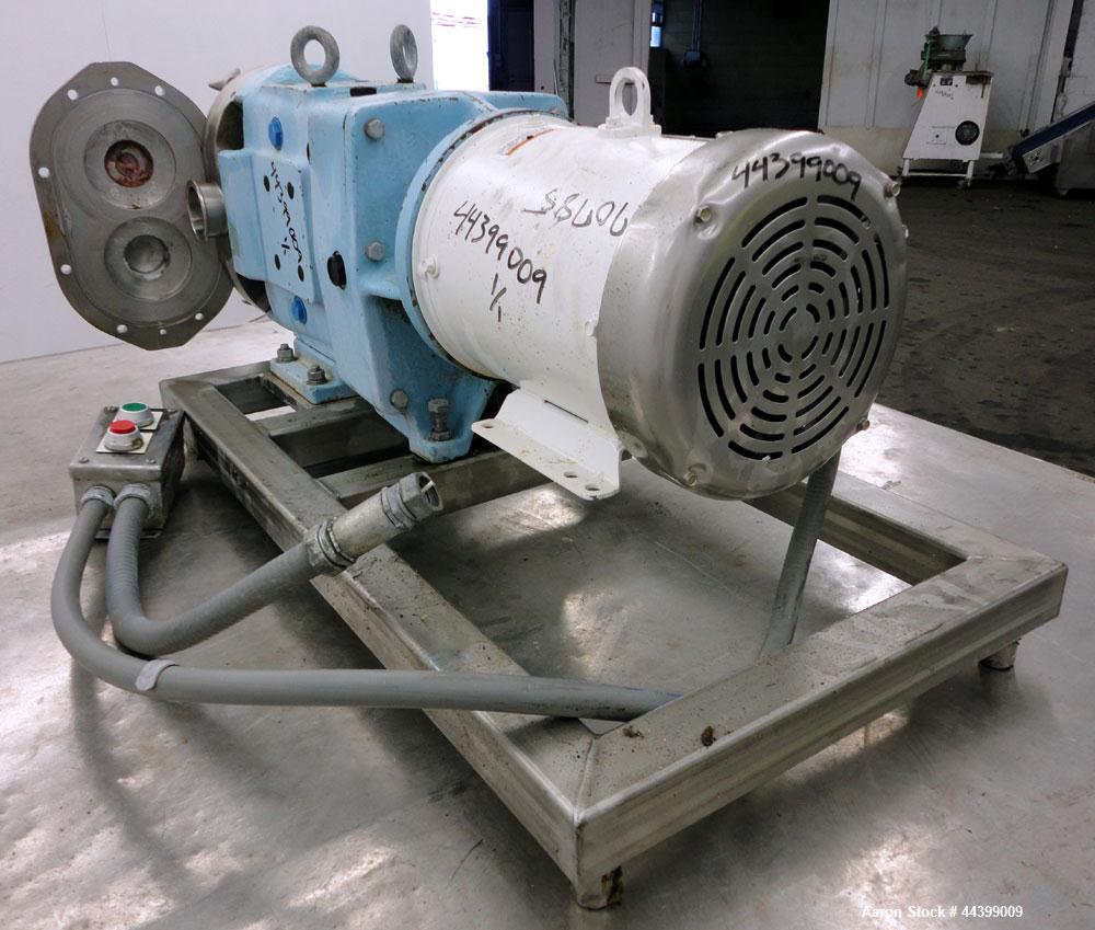 Used- Waukesha Positive Displacement Pump, Model 060, 316 Stainless Steel. Rated approximately 90 gallons per minute at 200 ...