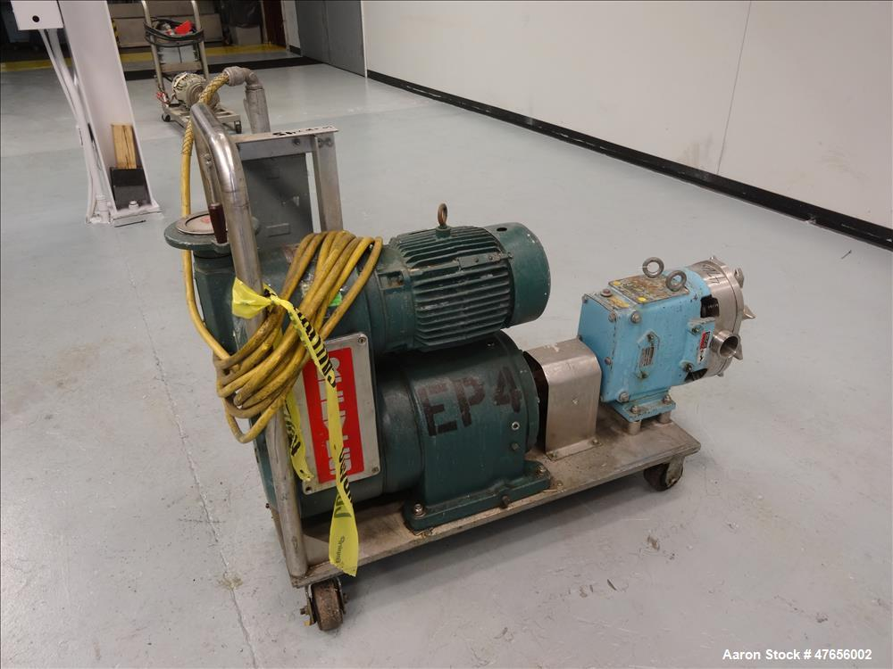 Used- Waukesha Horizontal Rotary Positive Displacement Pump, Model 130, 316 Stai
