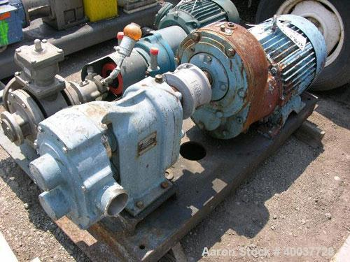 "Used- Waukesha Rotary Lobe Pump, Model 125, stainless steel construction, 2.5"" inlet/outlet, rated up to 100 gpm, on base wi..."