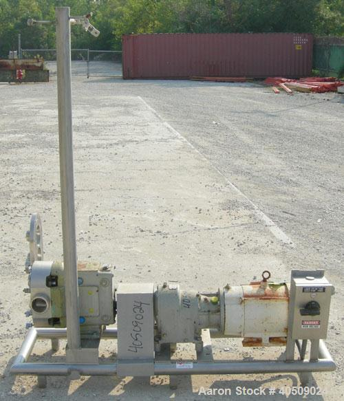 Used- Waukesha Universal Rotary Positive Displacement Pump, Model 130, 316 stainless steel. Approximately 130 gallons per mi...