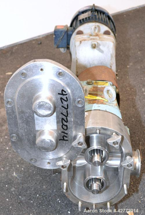 Used- Waukesha Horizontal Universal Rotary Positive Displacement Pump, Model 130, 316 Stainless Steel. Approximately 130 gal...