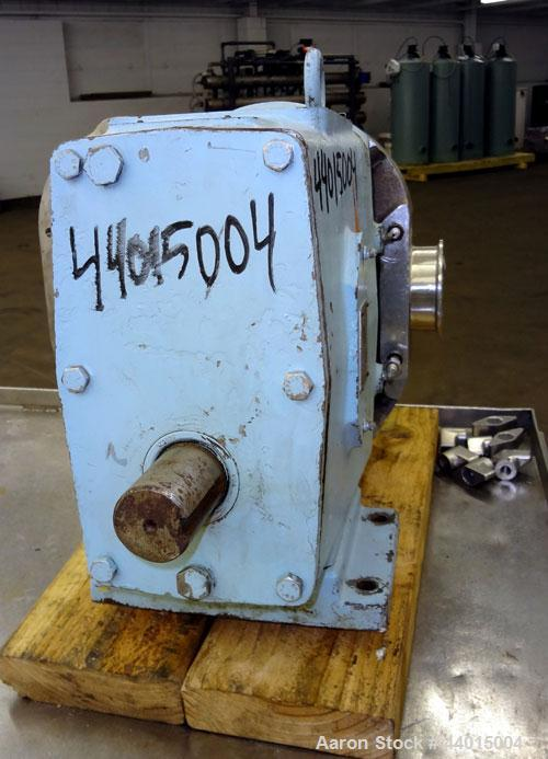 Used- Waukesha Rotary Positive Displacement Pump Head Only, Model 130, 316 Stainless Steel.  Approximately 130 gallons per m...