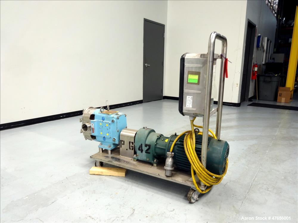 Used- Waukesha Horizontal Rotary Positive Displacement Pump, Model 130, 316 Stai