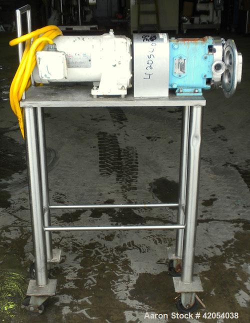 Used- Waukesha Rotary Positive Displacement Pump, model 15, 316 stainless steel. Approximate 10 gallons per minute capacity,...