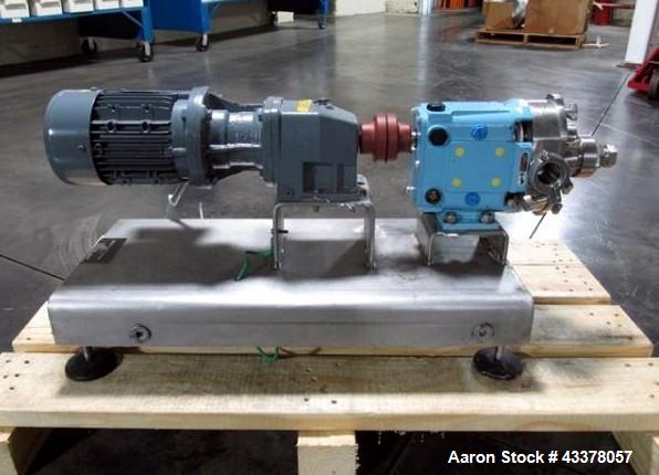 """Used- Waukesha Rotary Lobe Pump, Model 018, Stainless Steel. 1.5"""" Inlet/outlet, rated up to 20 gpm, on base with 1 hp, 230/4..."""