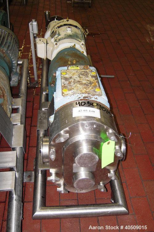 Used- Waukesha Rotary Positive Displacement Pump, Model 220, stainless steel. Approximate capacity 260 gallons per minute, ....