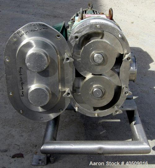 Used- Waukesha Rotary Positive Displacement Pump, Model 220, 316 Stainless Steel. Approximate capacity 260 gallons per minut...