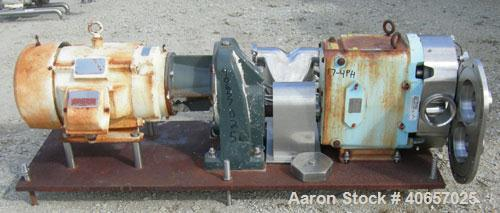 Used-Waukesha Universal Rotary Positive Displacement Pump, model 220, 17-4 PH stainless steel. Approximately 260 gallons per...