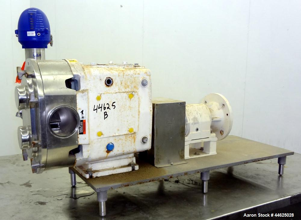 Used- Waukesha Universal Rotary Positive Displacement Pump, Model 220, 316 Stainless Steel. Approximately 260 gallons per mi...