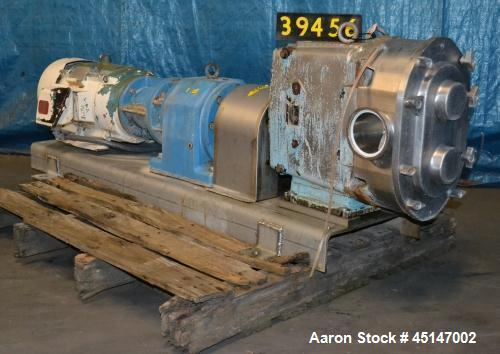"""Used-Waukesha Model 220 Positive Displacement Pump, 4"""" inlet/outlet, 20 hp  drive motor, 230/460/3/60, mounted on stainless ..."""