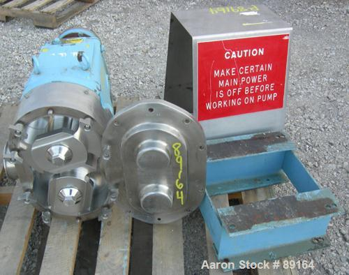 Used- Waukesha Rotary Positive Displacement Pump, Model 222, 316 Stainless Steel. Approximately 260 gallons per minute, (.50...