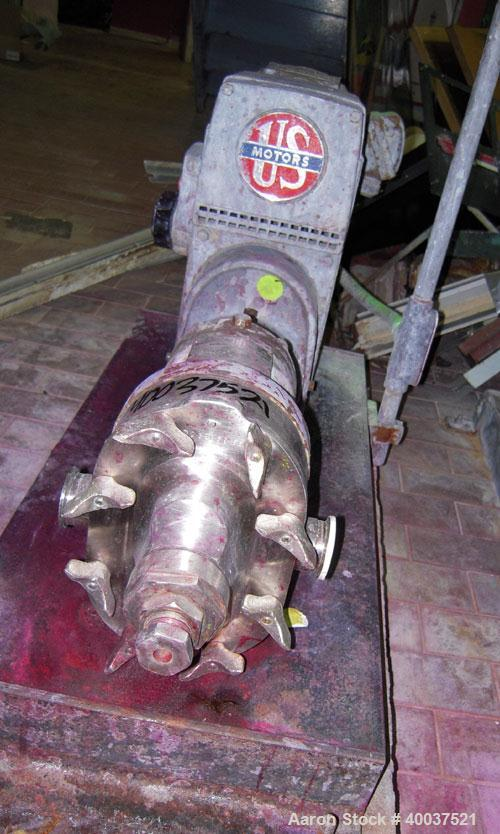 Used- Waukesha rotary positive displacement pump, model 25, stainless steel. Approximately 25 gallons per minute capacity, (...