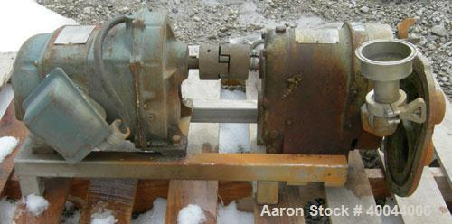 """Used- Waukesha Rotary Positive Displacement Pump, Model 25, 316 Stainless Steel.1 1/2"""" sanitary inlet/outlet.Rated displacem..."""