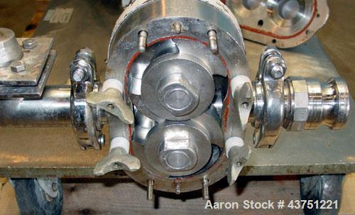 "Used- Waukesha Rotary Positive Displacement Pump, Model 25, 316 Stainless Steel. Approximately 25 gallons per minute. 2"" Tri..."