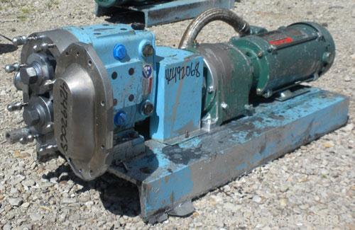 Used- Waukesha Rotary Positive Displacement Pump, Model 030U2AP, 316 Stainless Steel. Approximately 36 gallons per minute at...