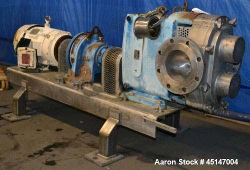 "Used-Waukesha Model 320 Positive Displacement Pump, 6"" flanged inlet/outlet, 20 hp motor, 230/460/3/60, mounted on stainless..."