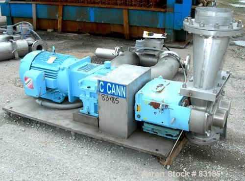 USED: Waukesha rectangular flange rotary positive displacement pump, model 324, 316 stainless steel. Approximately 300 gallo...