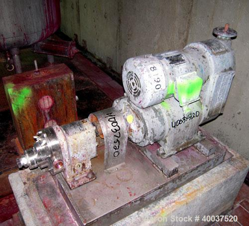 "Used- Waukesha rotary positive displacement pump, model 3, stainless steel. 1-1/2"" NPT inlet/outlet. (2) stainless rotors, v..."