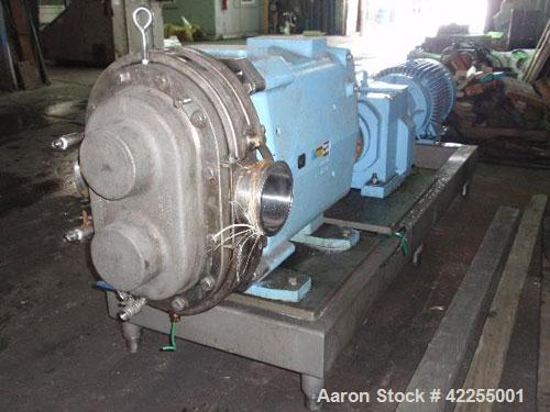 Used- Waukesha Rotary Positive Displacement Pump, model 420, 316 stainless steel. Approximately 640 gallons per minute at 20...