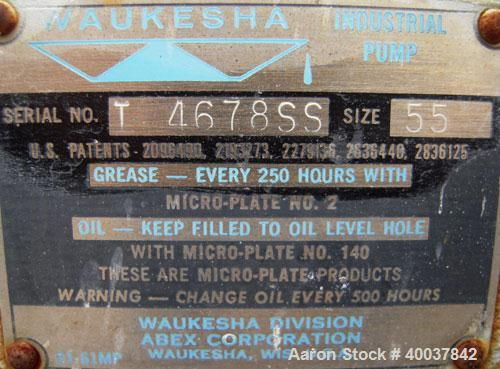 Used- Stainless Steel Waukesha Rotary Positive Displacement Pump, model 55