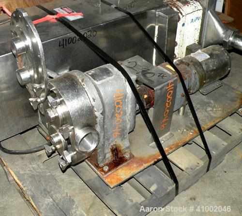 Used- Stainless Steel Waukesha Vertical Rotary Positive Displacement Pump, Model 55