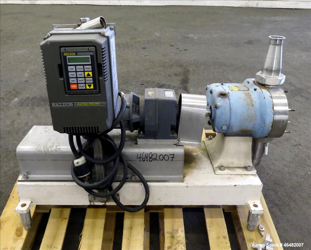 Used- Waukesha Rotary Positive Displacement Pump, Model 55, 316 Stainless Steel. Approximate capacity 60 gallons per minute....