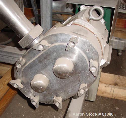 "USED: Waukesha Cherry Burrell rotary positive displacement pump, model 60, stainless steel. 2-1/2"" threaded sanitary inlet/o..."
