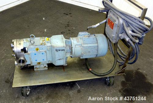 Used- Stainless Steel Waukesha Rotary Positive Displacement Pump, Model 62