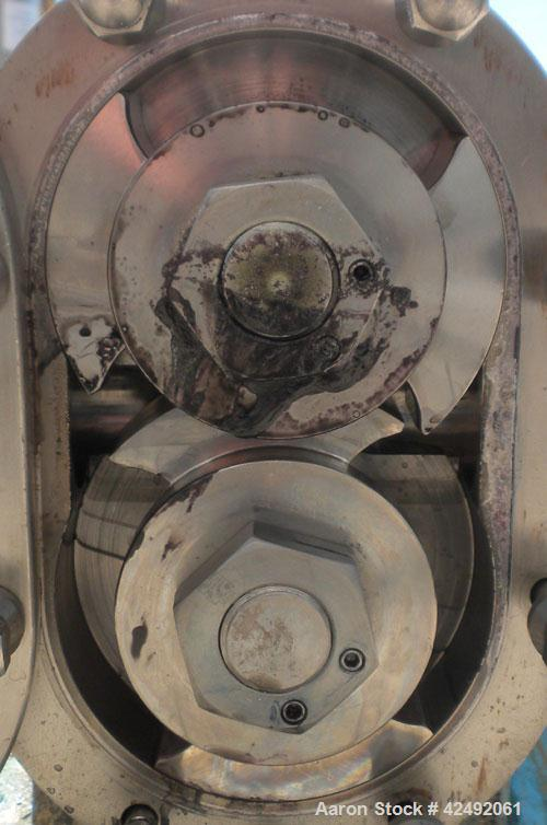 Used- Waukesha Rotary Positive Displacement Pump, Model AP-030, 316 Stainless Steel. Approximately 36 gallons per minute at ...