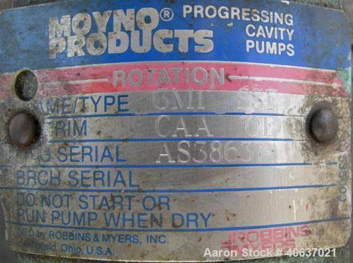 """Used- Moyno Industrial Line Pump, Type SSF, Frame 3M1, Trim CAA QE, 316 stainless steel. Approximate 1"""" inlet/outlet. Displa..."""