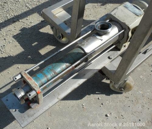 "Used- Hansa Processing Cavity Pump, 316 Stainless Steel. (.75) Liter per minute. 3"" threaded inlet, 2-1/2'' threaded outlet...."