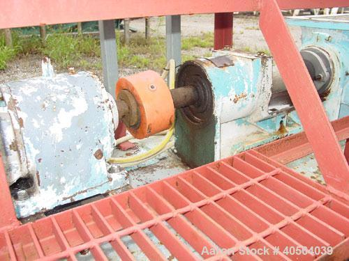 Used- Moyno 2 Stage Processing Cavity Pump, Model 2G0GS2/SSQ, Trim AAA. 36 gallons per revolution at 160 psi. Open throat de...