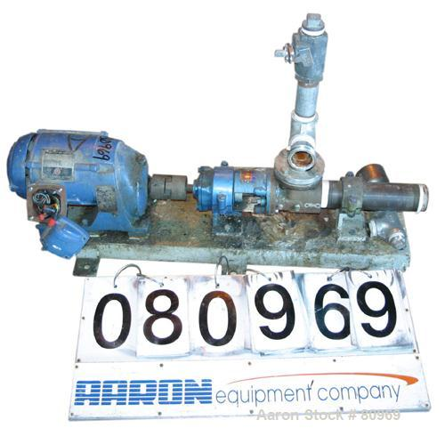 "USED: Moyno pump, model 2L3, frame AAA, cast iron rotor, 2"" inlet and outlet, 1/2 hp, 3/60/230/460 volt, 1800 rpm thru gear ..."