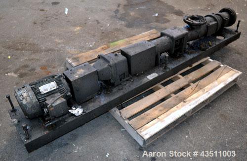 Used- Moyno 1000 Single Stage Progressing Cavity Pump, Model A1GCDQSAA. Approximate 22 gallons per 100 revolutions, 50 gallo...