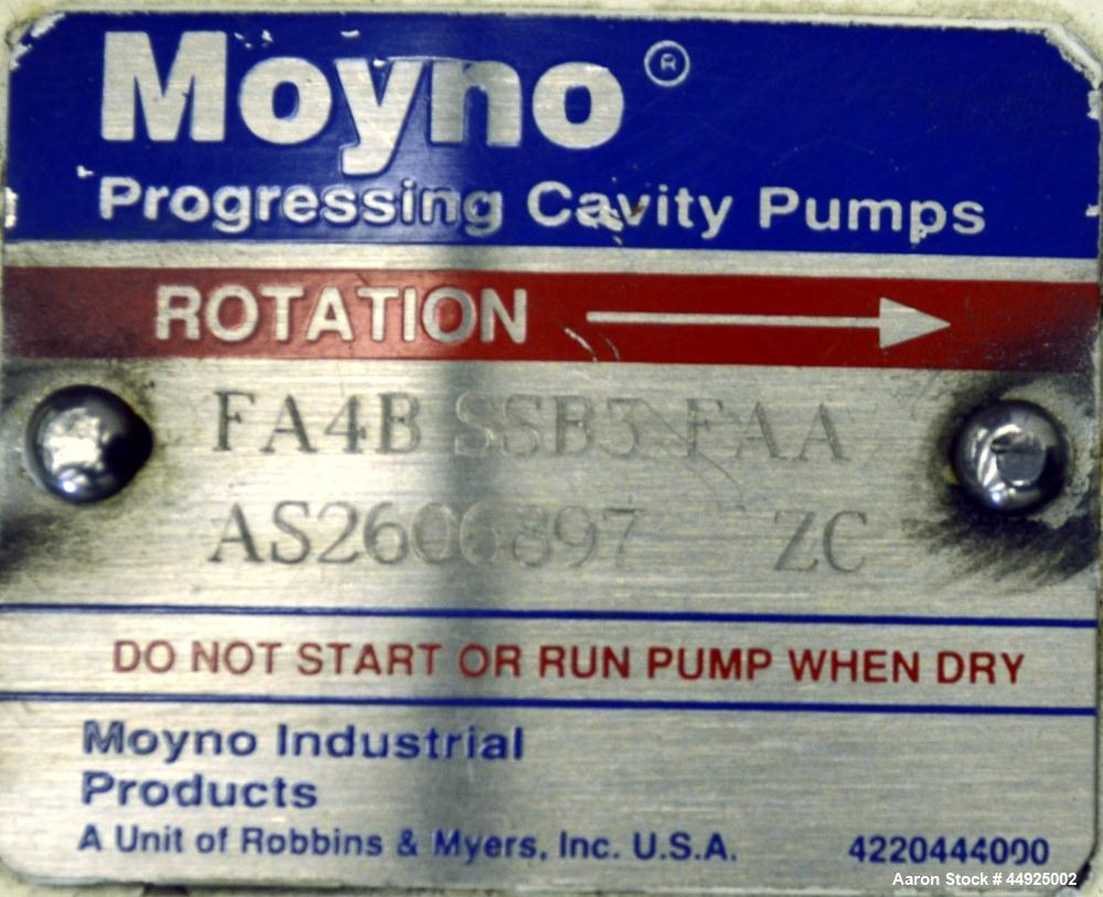 Used- Moyno Sanitary Processing Cavity Pump, Model Frame FA4B, Type SSB3, Trim FAA