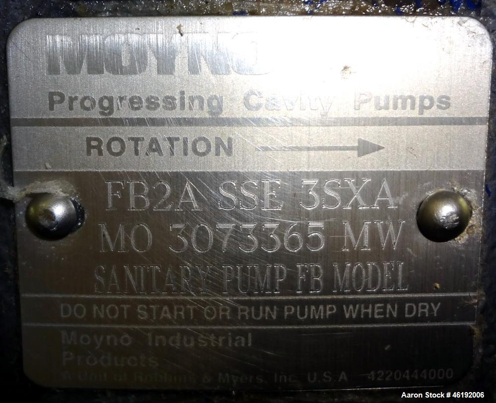 Used- Moyno Sanitary Progressive Cavity Pump, Model Frame FB2A, Type SSE, Trim 3SXA. Approximately 10 gallons per minute. (2...