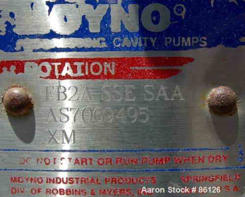 """Used- Moyno Sanitary Pump, Type FB2ASSESAA, 304 Stainless Steel. 1-1/2"""" inlet/outlet. Driven by a 1/2 HP, 3/60/90 Volt, 1750..."""