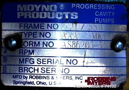 "Used- Moyno Industrial Line Pump, Type AAA, Frame 6M1, 316 Stainless Steel. 1"" Inlet/outlet. Displacement 5.20 gal/100 rev. ..."