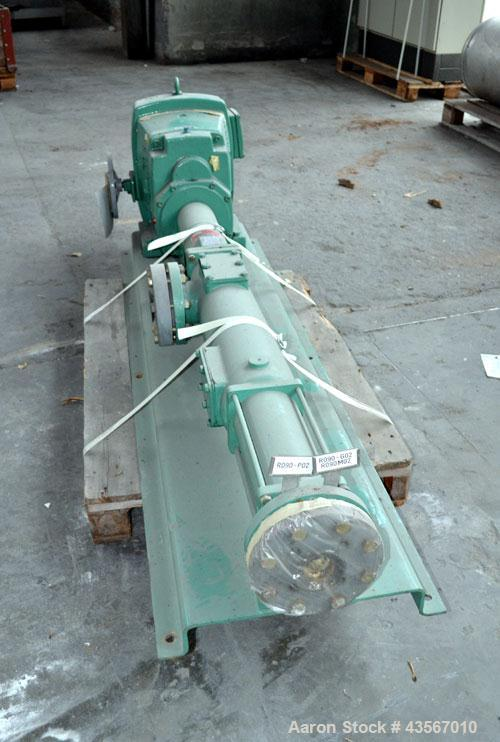 Used- Netzsch Progressive Cavity Pump, Type NE60A. 4'' Inlet, 4'' outlet. Driven by a 10kw (13hp), 3/50/500 volt, 1465 rpm m...