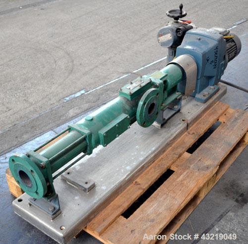 Used- Netzsch Progressive Cavity Pump, Type 2NE15A. Approximate capacity 22 cubic meters and hour (96.85 gallons per minute)...