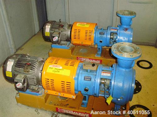 """Used- Goulds Centrifugal Pump, Model 3196 MTX, size 4x6-11-10, 316 stainless steel. 6"""" inlet, 4"""" outlet, approximate 10"""" dia..."""