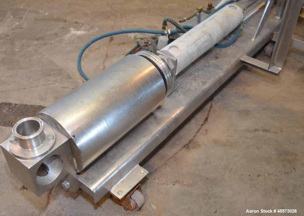 Used- Piston Transfer Pump, Stainless Steel. Mounted on stainless steel cart.